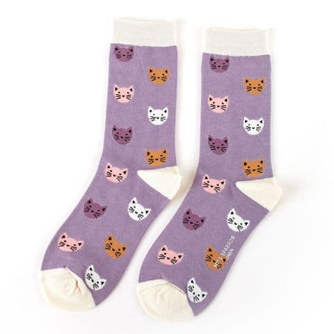 KITTY FACE LAVENDER SOCKS