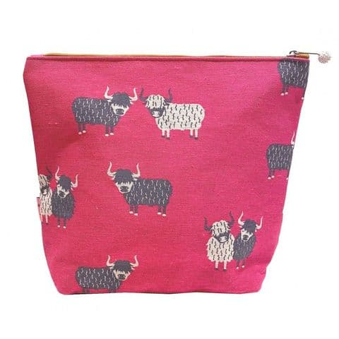 LARGE COSMETIC PURSE HIGHLAND COW