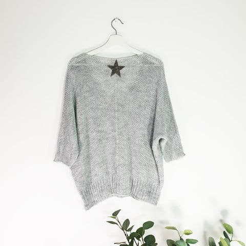 LIGHT GREY KNIT STAR JUMPER