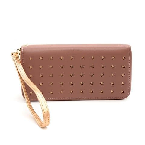 LONG DUSKY PINK PURSE WITH ROSE GOLD CUT OUT STAR REPEAT PATTERN AND WRIST STRAP