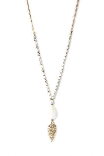 LONG GOLD AND WHITE NECKLACE NECKLACE