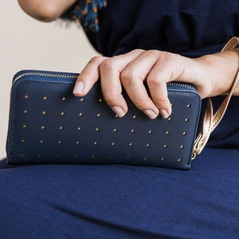 LONG NAVY PURSE WITH ROSE GOLD CUT OUT STAR REPEAT PATTERN AND WRIST STRAP