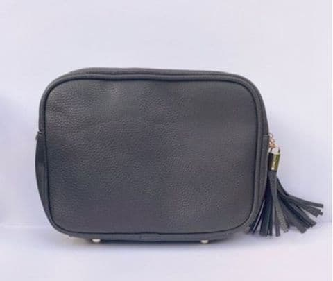 MEGAN DARK GREY DOUBLE ZIP CROSSBODY