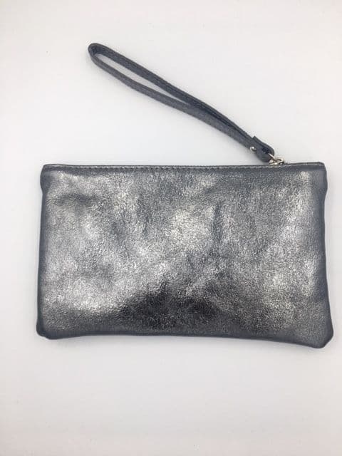 METALLIC LEATHER PEWTER WRISTLET