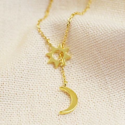 MOON AND STAR LARYAT NECKLACE IN GOLD