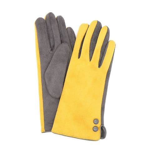 MUSTARD FAUX SUEDE 2 TONE GLOVES