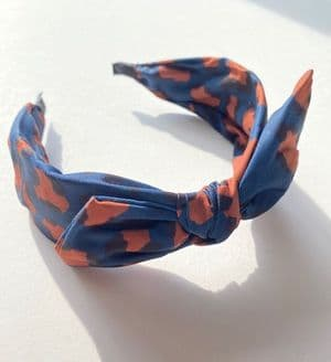 NAVY/ OCHRE LEOPARD PRINT BOW HEAD BAND