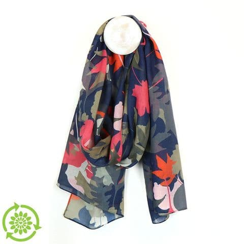 NAVY/PINK/SAGE RECYCLED POLYESTER FALLING LEAVES PRINT SCARF