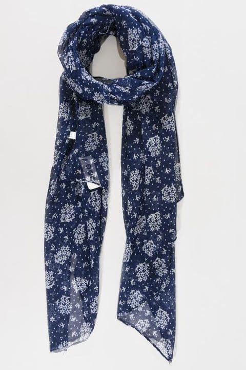 NAVY & WHITE MICRO FLORAL CLUSTER SCARF