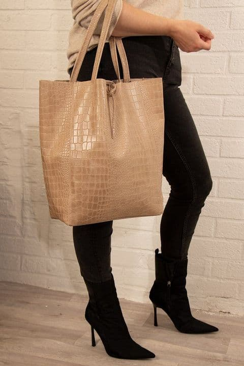 NEUTRAL SNAKESKIN LEATHER TOTE