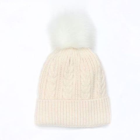 OATMEAL CABLE KNIT LINED HAT
