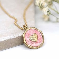 PINK ENAMEL GOLD HEART NECKLACE