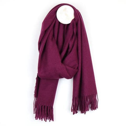 PLAIN SOFT RECYCLED YARN SCARF MULBERRY