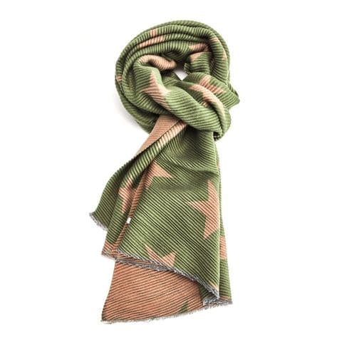 PLEATED STAR SCARF GREEN