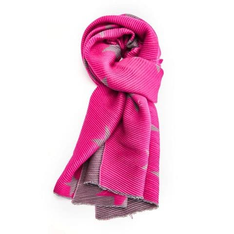 PLEATED STAR SCARF PINK