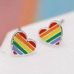 RAINBOW HEART EARRING STUDS
