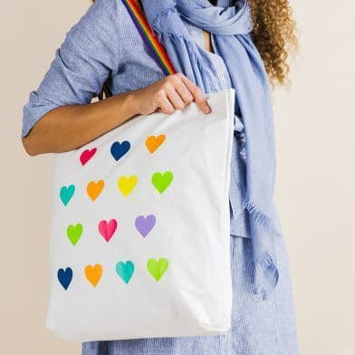 RAINBOW OF HOPE COTTON HEART SHOPPER BAG