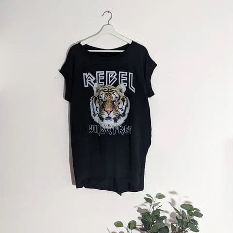 REBEL TIGER TOP BLACK