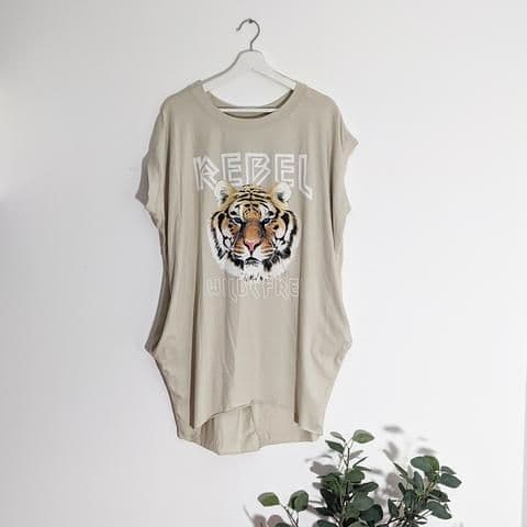 REBEL TIGER TOP GREY