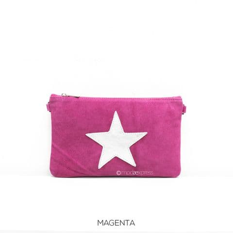 ROBYN STAR LEATHER CLUTCH HOT PINK