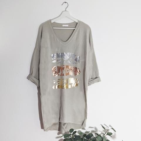 ROCK & ROLL FREE SIZE LONG TOP GREY