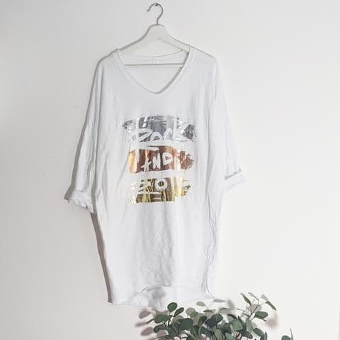 ROCK & ROLL FREE SIZE LONG TOP WHITE