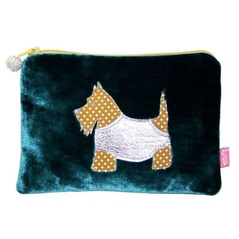 SCOTTIE DOG VELVET COIN PURSE TURQUOISE