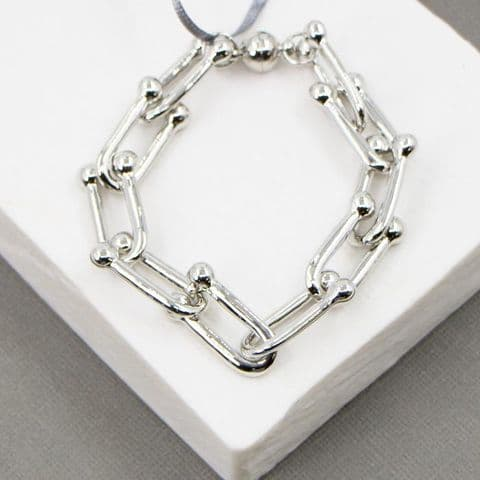 SILVER BALL AND LINK BRACELET