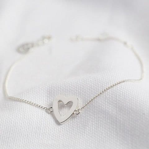 SILVER HEART OUTLINE BRACELET