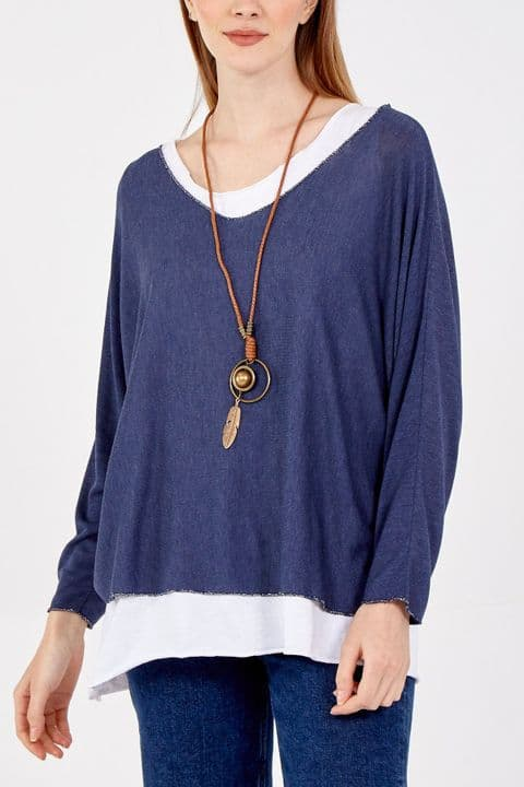 SIMPLE 2 LAYER TOP NAVY
