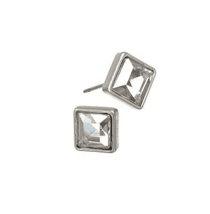 SQUARE CRYSTAL STUDS WORN SILVER / CLEAR