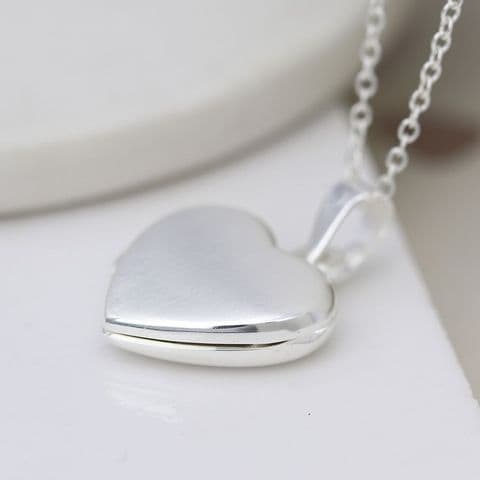 STERLING SILVER BRUSHED HEART LOCKET