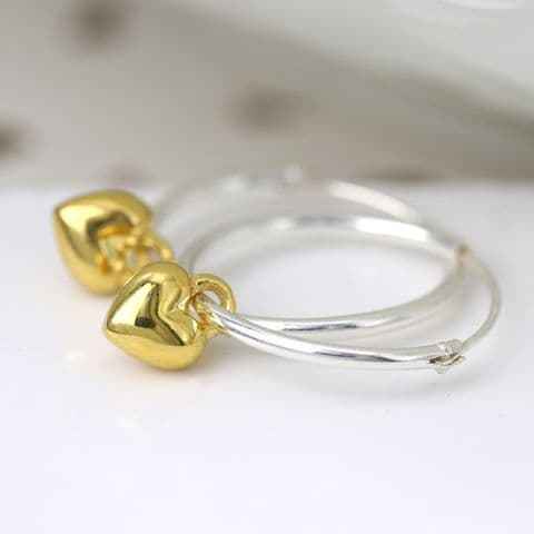 STERLING SILVER HOOP EARRING WITH GOLD HEART