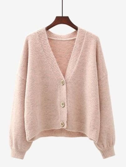 SUPER SOFT WOOL /CASHMERE MIX CARDI PINK