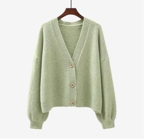 SUPER SOFT WOOL /CASHMERE MIX CARDI PISTACHIO