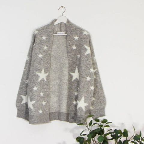 SUPERSOFT STAR CARDI GREY