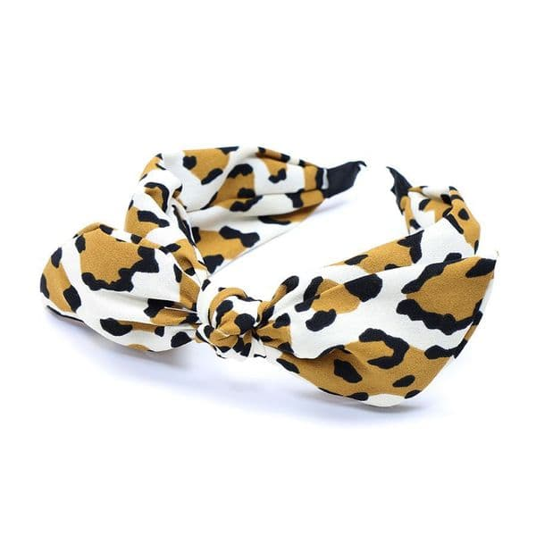 TAN/ CREAM LEOPARD PRINT BOW HEAD BAND