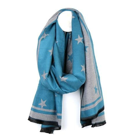 TEAL AND GREY REVERSIBLE VISCOSE MIX SCARF WITH STAR PATTERN