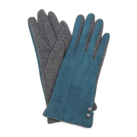 TEAL FAUX SUEDE 2 TONE GLOVES