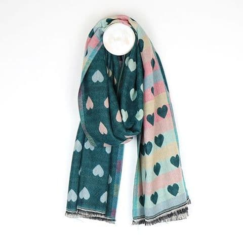 TEAL PASTEL HEARTS OMBRE SCARF