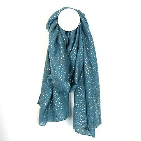 TEAL ROSE GOLD TINY DOTS SCARF