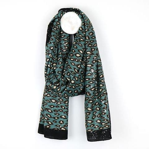 TEAL SILVER LEOPARD PRINT SCARF