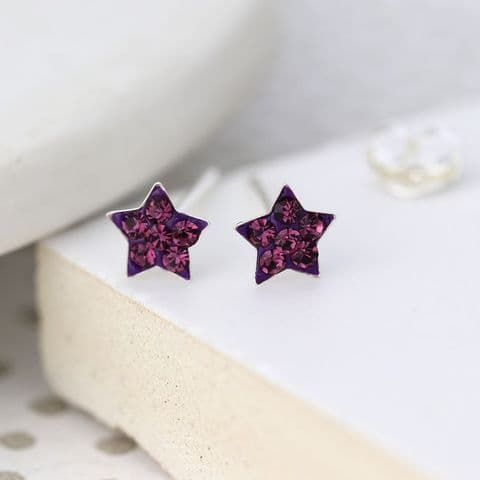 TINY CRYSTAL STAR EARRINGS AMETHYST STERLING SILVER
