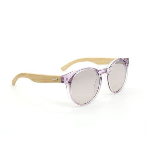 TRANSLUCENT LILAC SUNGLASSES W BAMBOO ARMS
