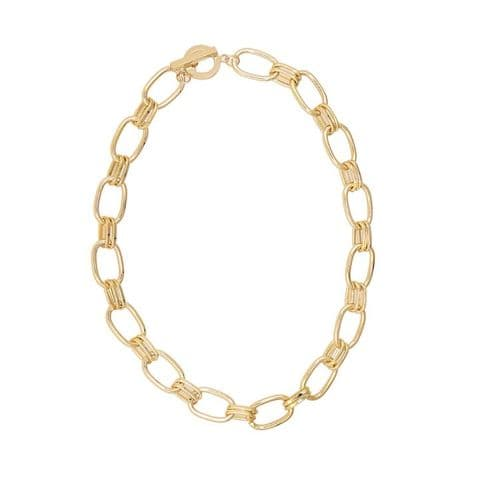TWIN LOOP & BAR NECKLACE GOLD