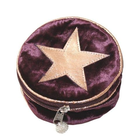 VELVET STAR ROUND JEWELLERY PURSE FIG