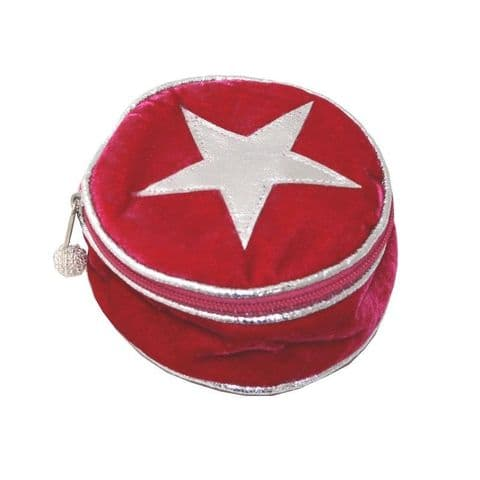 VELVET STAR ROUND JEWELLERY PURSE HOT PINK