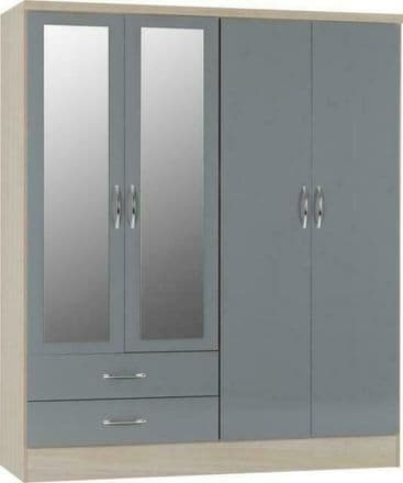 Nevad 4 Door 2 Drawer Wardrobe