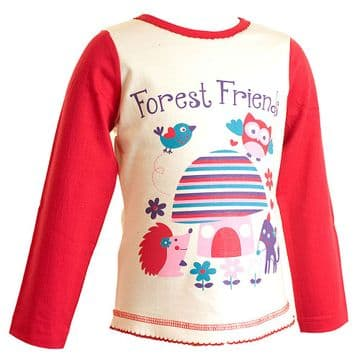 Girls Forest Friends Long Sleeved Top (6-23mnths 6 Pack) - (2-6yrs 6 Pack)