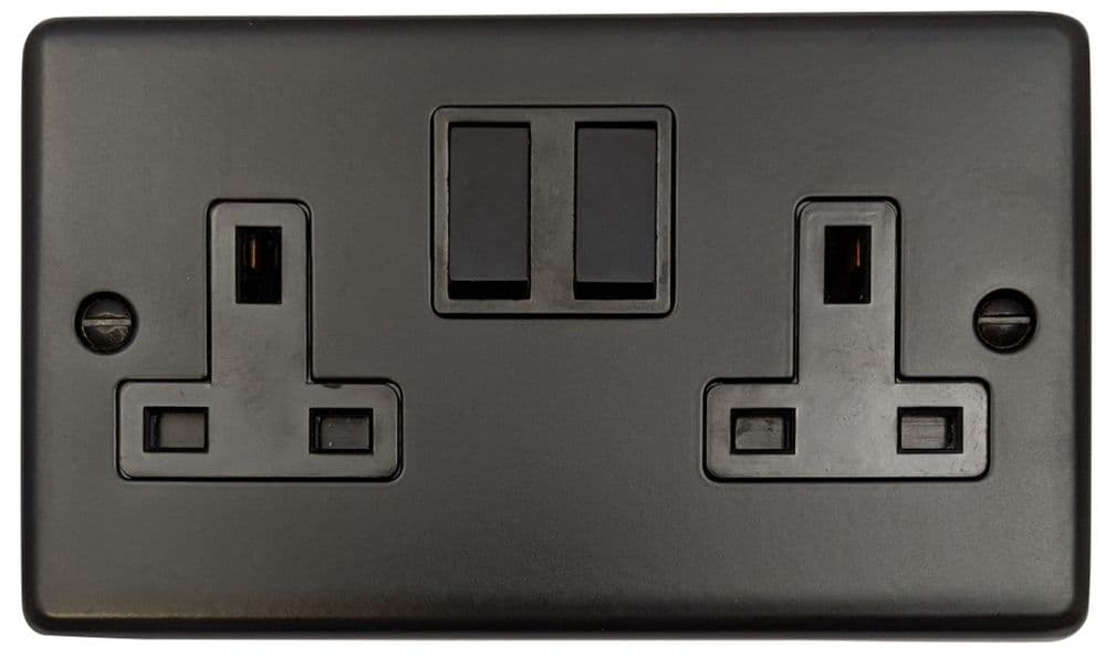 G&H CFB10B Standard Plate Matt Black 2 Gang Double 13A Switched Plug Socket